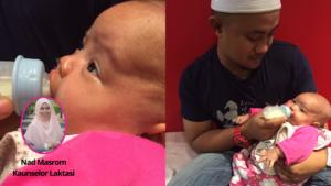 Cara ajar bayi minum botol susu (pace feeding, standard neck teat)